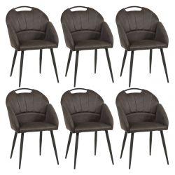 BASNA - Lot de 6 Chaises Tissu Gris avec Accoudoirs
