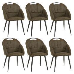 BASNA - Lot de 6 Chaises Tissu Kaki avec Accoudoirs