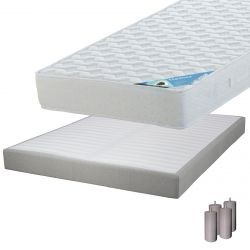 MALDIVES - Pack Matelas 140x190 + Sommier Tapissier Démontable 2x20 Lattes Lin + Pieds Taupe 15cm