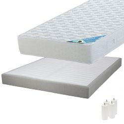 MALDIVES - Pack Matelas 140x190 + Sommier Tapissier Démontable 2x20 Lattes Lin + Pieds Blancs 15cm
