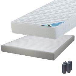 MALDIVES - Pack Matelas 140x190 + Sommier Tapissier Démontable 2x20 Lattes Lin + Pieds Anthracites 15cm