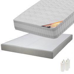 TAHITI - Pack Matelas 140x190 + Sommier Tapissier Démontable 2x20 Lattes Lin + Pieds Blancs 15cm