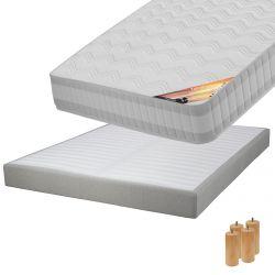 TAHITI - Pack Matelas 140x190 + Sommier Tapissier Démontable 2x20 Lattes Lin + Pieds Bois 15cm