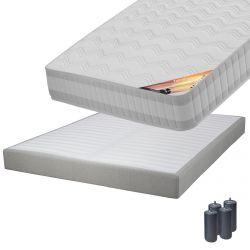 TAHITI - Pack Matelas 140x190 + Sommier Tapissier Démontable 2x20 Lattes Lin + Pieds Anthracites 15cm