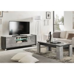 HOFFMAN - Ensemble Meuble TV 160cm + Table Basse à 4 Pieds