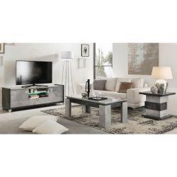 HOFFMAN - Ensemble Meuble TV + Table d'Appoint + Table Basse à 4 Pieds