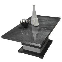 HOFFMAN - Table Basse à Pied Central Gris Aspect Pierre