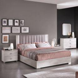 TERESA - Chambre 140x190cm Aspect Béton Ciré avec Commode et Miroir