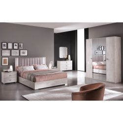 TERESA - Chambre Complète 140x190cm Aspect Béton Ciré + Armoire 4P