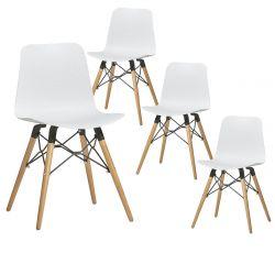 TIGER - Lot de 4 Chaises Blanches avec Croisillons