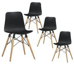 TIGER - Lot de 4 Chaises Noires avec Croisillons