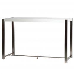 JUDY - Table Haute Rectangulaire Blanche et Pieds Acier