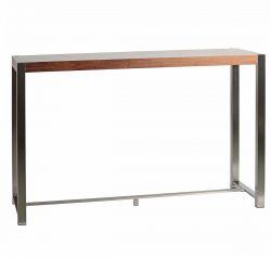JUDY - Table Haute Rectangulaire Aspect Noyer et Pieds Acier
