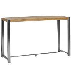 JUDY - Table Haute Rectangulaire Aspect Chêne et Pieds Acier