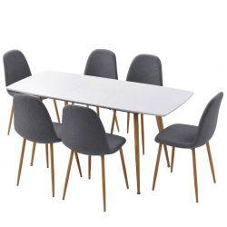 PALMA - Ensemble Table Extensible + 6 Chaises Gris Foncé