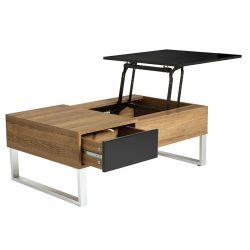 CATANE - Table Salon Noire et Bois avec Plateau Elevable