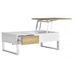 CATANE - Table Salon Blanche et Bois avec Plateau Elevable