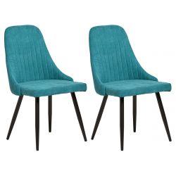 ANNA - Lot de 2 Chaises Tissu Turquoise et Pieds Noirs