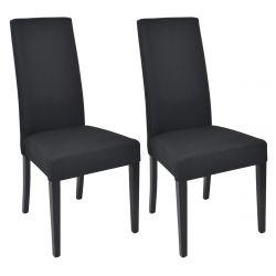 LASCALA - Lot de 2 Chaises Tissu Noir et Pieds Laqués