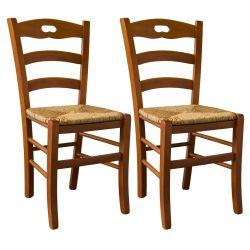 SUZY - Lot de 2 Chaises Teinté Chêne et Assises en Paille