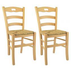 SUZY - Lot de 2 Chaises Naturelles et Assises en Paille