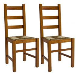 ORTA - Lot de 2 Chaises Teinté Chêne et Assises en Paille