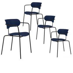VOLPE - Lot de 4 Chaises Bleu Marine et Pieds Métal Noirs