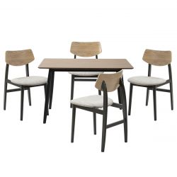 KUGLA - Ensemble Table Repas et 4 Chaises Pieds Gris