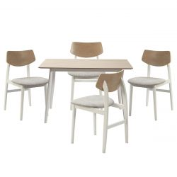 KUGLA - Ensemble Table Repas et 4 Chaises Pieds Blancs