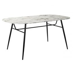 OLIANA - Table Repas 160cm Plateau Blanc Verre Effet Marbré