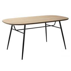 AZZERO - Table Repas 160cm Plateau effet Chêne Pieds Métal