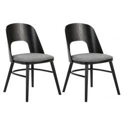 SABLON - Lot de 2 Chaises Tissu Gris et Structure Noire