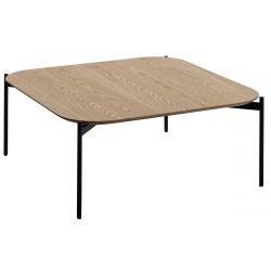 CHOUCHA - Table Salon Carrée 80cm Plateau Plaqué Chêne