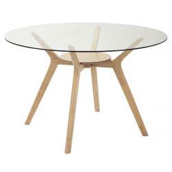 ELLIE - Table Repas Ronde 120cm Pieds Hévéa et Plateau Verre