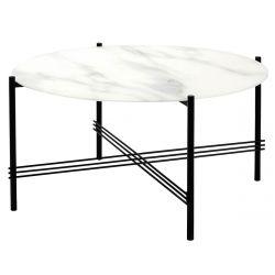 JENNER - Table Salon Ronde 84cm Verre Effet Marbre Blanc