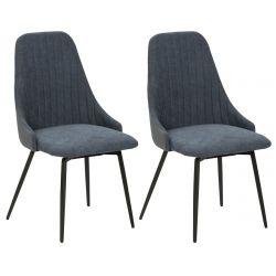UNDY - Lot de 2 Chaises Pivotantes Tissu Bleu