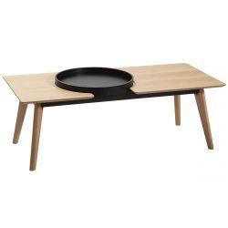 KATNI - Table Salon Pieds Bois Massif et Placage Chêne