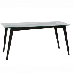 JOPLIN - Table Rectangulaire Plateau Verre et Pieds Bois Noirs