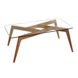 JOPLIN - Table Salon Rectangulaire Plateau Verre et Pieds Bois