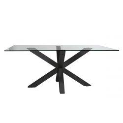 ANKA - Table Repas 180cm Pieds Métal Noir Plateau en Verre