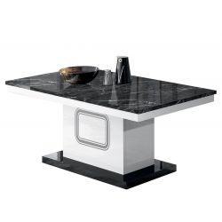ROBBIE - Table Basse Rectangulaire Plateau Effet Marbre Noir