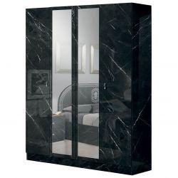 STELYA - Armoire 4 Portes avec Miroir Aspect Marbre Noir
