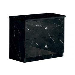 STELYA - Chevet 2 Tiroirs Aspect Marbre Noir
