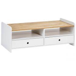 CARLA - Table Basse Rectangulaire 2 Tiroirs Bois et Blanc