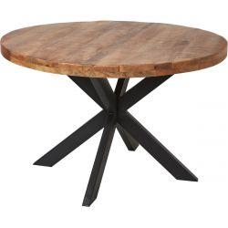 BENGAL - Table Repas Ronde 120cm Manguier et Métal Noir