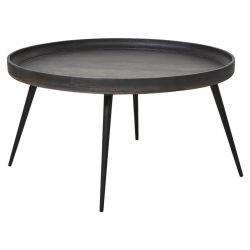 KALI - Table Basse Ronde Manguier Teinté Gris et Métal Noir