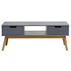 MUGAN - Table Salon 2 Tiroirs Gris et Pin Naturel
