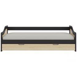LEROY - Lit 90x200cm gigogne Naturel et Laqué Noir
