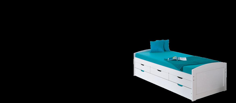 Lit gigogne 2 couchages avec 3 tiroirs 90x200 cm en bois massif blanc