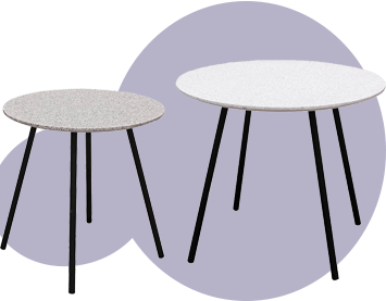Lot de 2 tables gigognes finition granit blanc ou gris avec piétement noir GRACY